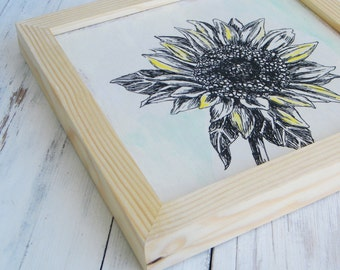 Framed wall art, Sunflower print, Print on wood, Hipster room decor, Dorm decor, Framed art, Wood signs, Shabby chic, Bedroom Decor