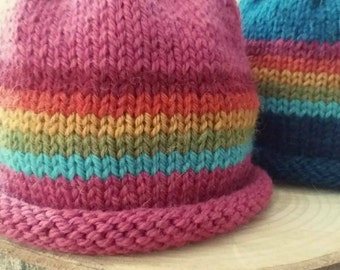 Hand Knitted Child Hat. Over The Rainbow Hat