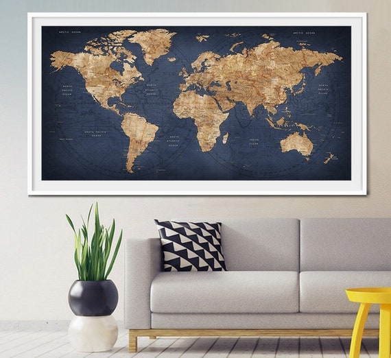 Decor World: World Map Push Pin Large World Map Abstract World By