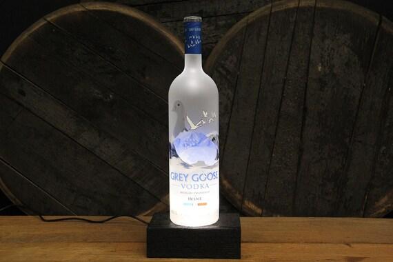 Grey Goose Vodka Bottle LED Light / Reclaimed Wood Base & LED Desk Lamp / Handmade Tabletop Lamp / Upcycled Liquor Vodka Bottle Lighting