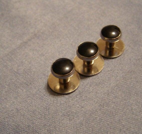 Formal studs tuxedo shirt collar buttons classic black on for Tuxedo shirt black buttons