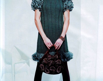 knit dress pattern,detailed tutorial,winter dress pattern,knit winter dress,knit ruffles dress,knit dress tutorial,knit warm dress pattern