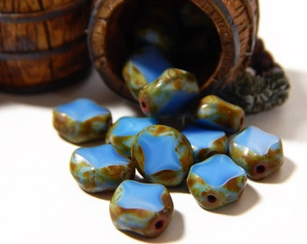 20 Pcs - 9x8mm Czech Glass Beads - Blue Turquoise - Table Cut Diamond Oval - Table Cut Beads - Jewelry Supplies