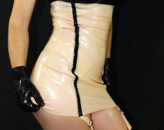 Latex girdle underbust dress with frills
