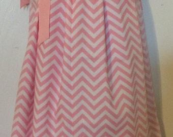 Pink Chevron Pillowcase Dress Size 2T
