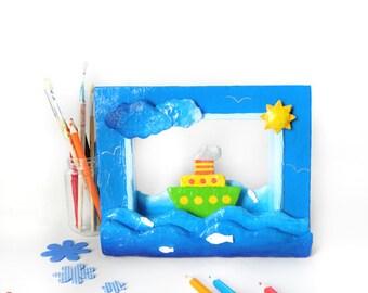Kids wall decor, paper wall art, 3d wall art, kids gift, nursery wall art, boat wall art, paper diorama, boat sculpture, papier mache art