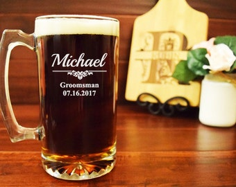 5 Groomsmen Beer Mugs, Engraved Beer Steins, Groomsman Mugs, Wedding Party Gifts, Best Man, Father of the Bride, Groom, Personalized, BB03