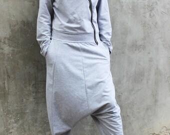 Grey Loose Jumpsuit/ Maxi Woman Loose Jumpsuit/ Crotch Harem Pants/Hooded Jumpsuit/ plus Size Jumpsuit by FRKT J0006