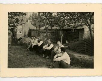 Reposing in the garden - original 50s vintage photo- men women relaxing and chatting in the backyard- paper ephemera
