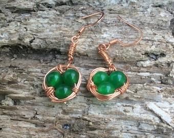 Jade and Copper Bird Nest Earrings 051626E