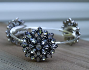 Silver Bangle, Flower Bangle, Rhinestone Bangle, Silver and Rhinestone Bangle, Rhinestone Bracelet, Rhinestone Jewelry, Silver Bracelet