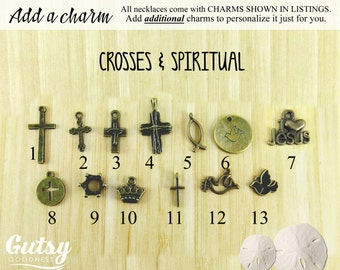 Crosses and Spiritual Themed Charms You Can Add to Your Gutsy Goodness Pendant Necklace or Keychain, Antique Bronze