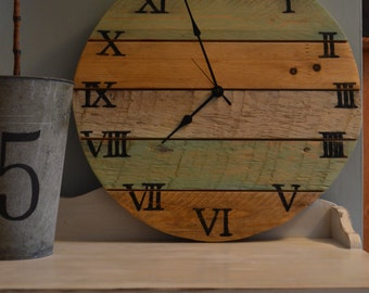 """Wall Clock /Pallet wood Clock/Distessed Finish/ Painted Sea Glass White and Natural/Battery Operated Clock/20"""" Round Clock"""