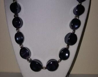 Deep Purple Glass Necklace - Round Rectangle Bead - Rectangle Necklace - Twisted Glass - Twisted Necklace - Women's Necklace - Glass Bead