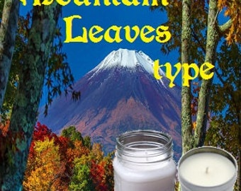Mountain Leaves type Soy Candle 8 oz Soy Wax Mason Jar Candle, Handmade, Hand Poured Pick Your Style and Color