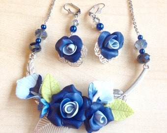 Marine Blue jewelry set with flowers polymère clay and crystal