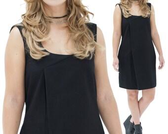 Oversize Pleat Dress, Black or Gray Pleated, Minimalist A-line, Rocker Chic, Edgy Comfy Clothing, Alternative Basic Wear, By TESSA DE BOER