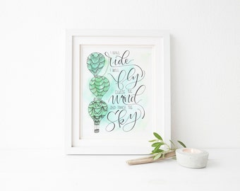 """I will Ride, I will Fly Merida - Brave - Original Hand Lettered Watercolor Quote 8x10"""""""