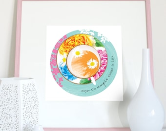 Floral teacup kitchen print, enjoy the simple things in life, teacup print, kitchen art, kitchen poster, kitchen art with quote