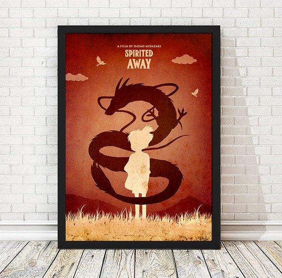 Vintage Spirited Away Hayao Miyazaki Minimalist Poster, Vintage Poster, Minimalist Poster, A3 Print (11.7x16.5 inches)