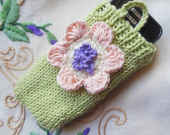 Knitted Phone Case, Mobile Phone Cover  with Floral Design, Small Handmade Phone accessory Gift For Her Cotton