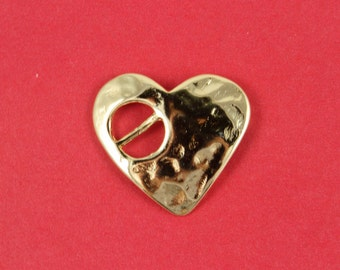 5/3 MADE in EUROPE zamak heart buckle clasp, heart slider clasp, hammered heart clasp, gold heart clasp (ABLZ56G) qty1