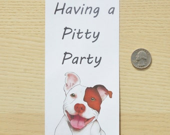 """Door knob hanger - """"Having a pitty party"""", dog lover room decor, paper door knob hanger, pit bull lover, dog lover gift, pit bull decor"""