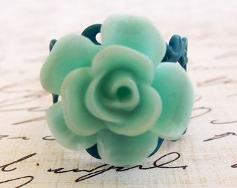green rose ring bridesmaid ring adjustable rose ring green filigree ring mint green ring mint green rose will you be my bridesmaid ring