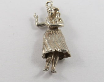 Mechanical Hula Dancer With Legs That Move Sterling Silver Charm or Pendant.