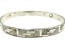 "Vintage Sterling Silver Mexican Southwestern Geometric Patterned Bangle Bracelet, nice stackable, 5/16"" wide"