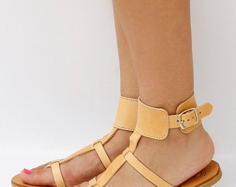 Women Greek Leather Sandals, Style sandals, Flat Sandals, Natural Leather