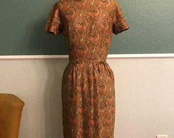1960s Johnathan Logan Gold Paisley Wiggle Dress S