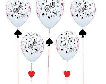 CASINO POKER party birthday supplies balloons strings decorations ribbons die cuts hearts spades red black