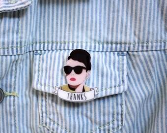Audrey Hepburn Brooch, Breakfast at Tiffany's Brooch, Classic Cinema Gift
