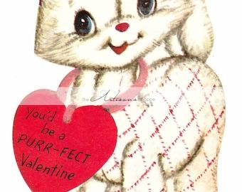 Vintage Valentine Kitty Cat Purr - Digital Download Printable Image - Paper Crafts Scrapbook Altered Art - Vintage Retro Kitsch Valentine
