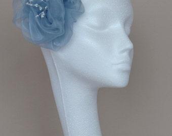 Pale blue flower hair accessory fascinator, handmade