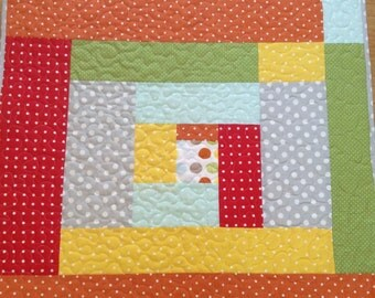 Baby quilt, handmade baby quilts, gender neutral baby quilt, baby blankets, crib quilt, cotton baby quilt, polka dot baby quilt, multi color