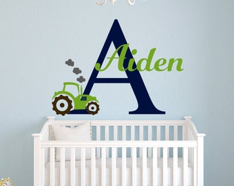 Name Tractor Wall Decal - Boys Room Wall Decal - Custom Name Wall Decal - Tractor Decal - Nursery Wall Decal - Kids Boys Name Decal