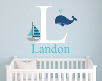 Name Wall Decal   Whale Wall Decal   Nautical Theme Decal   Baby Boys Wall  Decal Part 86