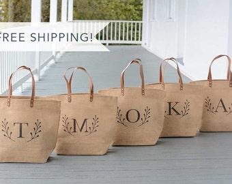 7 Personalized Bridesmaid Bags Set-Bridesmaid Tote Bag-Monogram Bridesmaid Tote-Wedding Party Gift-Wedding Tote Bag-Monogram Boat Tote