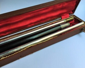Rare pool cue belonged to g. Radetzky 1800 in original box monogrammed, victorian accessories, antique accessories