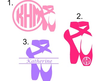 Monogram Ballet Decal...choose from 3 styles, Monogram Ballet Sticker, Ballet Slippers, Personalized Ballet Decal, Ballet Shoes, Ballerina
