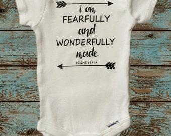 I Am Fearfully and Wonderfully Made Psalm 139:14 Onesie