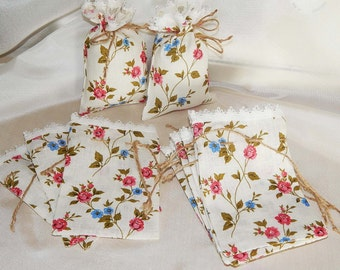 Linen Gift Bags, Set of 15 Floral Favor Bags, Decorative Favor Gift Bags, Fabric  Favor Bags, Wedding Bags