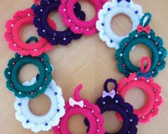 Sale - Reduced in Price. Crocheted Mini Wreaths - UK Seller!