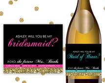 Maid of Honor Matron of Honor Bridesmaid Will You Be My Proposal Ask Unique Wine Champagne Mini Bottle Label Gift Wedding Idea - Item #MBM3