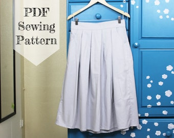 Pocket Midi Skirt PDF Sewing Pattern - Tea Length, Pleated, Easy, Downloadable, Tutorial