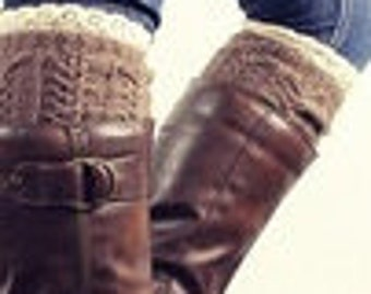 Boot Cuffs - Brown Cable Knit with Lace