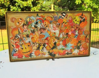 Glittered Halloween Box with Old-time, Picture Collage-Handmade