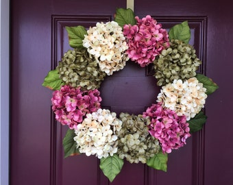 Spring Wreath, Mother's Day, Hydrangea Wreath, Summer Wreath, Front Door, Front Door Decor, Hydrangea, Housewarming Gift, Grapevine